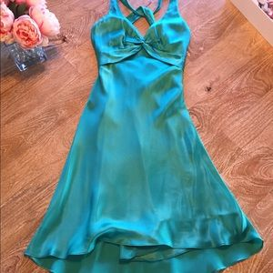 Emerald Green Satin Cache Gown, Size 2
